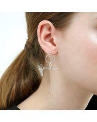 Alison Fern Jewellery - Metallic Calix Silver Circle & Bar Stud & Drop Earrings - Lyst