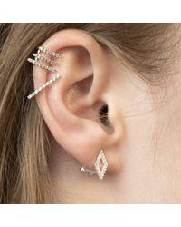 Astrid & Miyu - Metallic Diamond Ear Jacket In Silver - Lyst