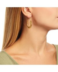 Ottoman Hands - Metallic Gold Feather Hoop Earrings - Lyst