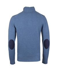 Hackett - London Light Blue Lambswool Quarter Zip Knit for Men - Lyst