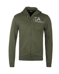 EA7 - Green Khaki Zip Through Hooded Sweatshirt for Men - Lyst