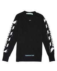 Off-White c/o Virgil Abloh Black Diagonal 'temperature' Long Sleeve T-shirt for men