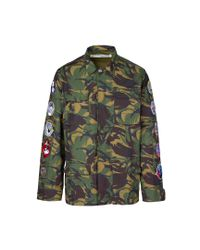 Off-White c/o Virgil Abloh - Green Arrows Field Jacket With Patches for Men - Lyst