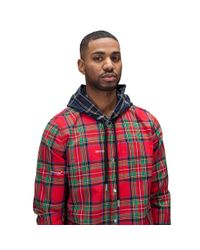 Off-White c/o Virgil Abloh Red Hooded Check All-over Shirt