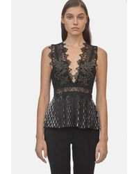 Yigal Azrouël - Black Studded Coral Emboridery Pleated Top - Lyst