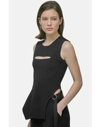 Yigal Azrouël - Black Asymmetric Keyhole Knit Top - Lyst