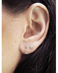Sydney Evan - Metallic Safety Pin Stud Earring - Lyst