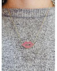 Sydney Evan - Multicolor Large Ruby Pavé Lips Necklace - Lyst
