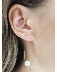 Sweet Pea By Stacy Frati - Multicolor Large Pearl Hoop Earrings - Lyst