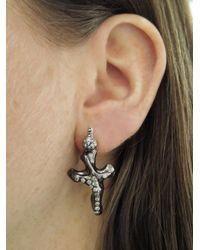 Lucifer Vir Honestus - Metallic Cross Earrings With Diamonds - Lyst