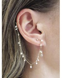 Sweet Pea By Stacy Frati - Multicolor Pearl And Chain Ear Cuff Earring - Lyst