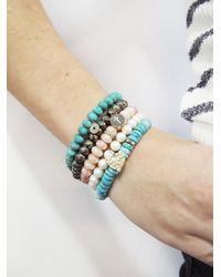 Sydney Evan - Multicolor Round Diamond Bezel Charm On Mystic Peach Moonstone Beaded Bracelet - Lyst