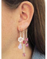 Irene Neuwirth - Single Pink Tourmaline Teardrop And Square Earring - Lyst