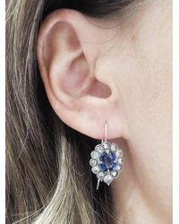 Cathy Waterman - Multicolor Kyanite Scalloped Frame Earrings With Diamonds - Lyst