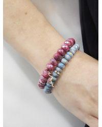 Sydney Evan - Multicolor Flamingo Charm On Diamond Red Moonstone Beaded Bracelet for Men - Lyst