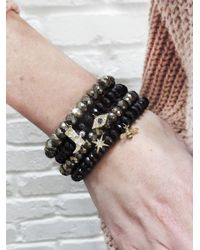 Sydney Evan - Evil Eye Charm On Black Spinel Beaded Bracelet - Lyst