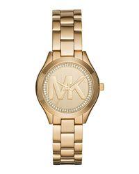 Michael Kors - Metallic Mini Slim Runway Analog Stainless Steel Bracelet Watch - Lyst