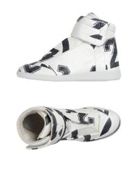 Maison Margiela - White Number-Print Leather High-Top Sneakers for Men - Lyst