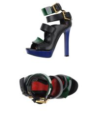 Alexander McQueen - Black T-strap Platform Sandal - Lyst