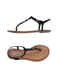 Steve Madden - Black Toe Strap Sandal - Lyst