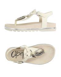 Apepazza   White Toe Post Sandal   Lyst