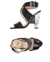 Fendi | Black Sandals | Lyst