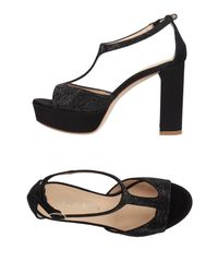 Lella Baldi - Black Sandals - Lyst