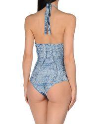 Hervé Léger - Blue One-piece Swimsuit - Lyst