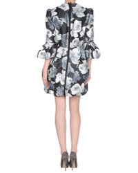 Lanvin - Black Floralprint Cotton and Silkblend Dress - Lyst