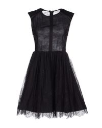 Alice + Olivia - Black Short Dress - Lyst