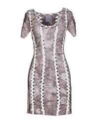 Hervé Léger | Gray Laser-cut Bandage Dress | Lyst