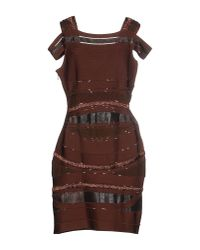 Hervé Léger - Brown Leatherinsert Bandage Dress - Lyst
