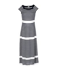 Philosophy di Alberta Ferretti | Blue Pointelle-trimmed Striped Cotton Maxi Dress | Lyst