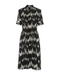 Altuzarra - Black Short-sleeve Belted Ikat-print Shirtdress - Lyst