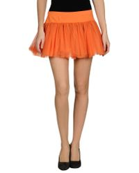 Frankie Morello - Orange Mini Skirt - Lyst
