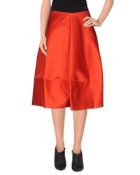 Jil Sander Navy - Red 3/4 Length Skirt - Lyst
