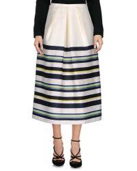 Jil Sander Navy | White 3/4 Length Skirt | Lyst