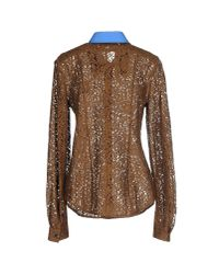 N°21 - Brown Cecilia Lace Shirt - Lyst