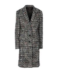 Dolce & Gabbana | Black Woolblend Tweed Coat | Lyst