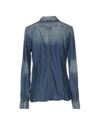 Replay - Blue Denim Shirt - Lyst