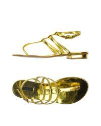 Pinko - Yellow Toe Post Sandal - Lyst