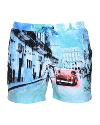 ebd24ee3dd BOSS Black Swimming Trunks in Blue for Men - Lyst