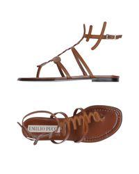 Emilio Pucci - Brown Toe Post Sandal - Lyst