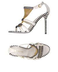 Sergio Rossi - White Sandal with Chain Detail - Lyst