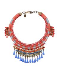 Sveva Collection - Red Embellished Rope And Chains Necklace - Lyst