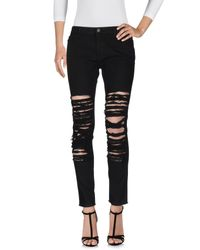 Pinko - Black Denim Pants - Lyst