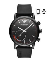 Emporio Armani - Men's Connected Black Rubber Strap Hybrid Smart Watch 43mm for Men - Lyst