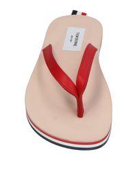 Thom Browne - Red Flip-Flops mit gestreifter Sohle for Men - Lyst
