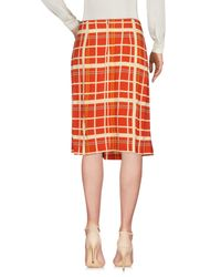Siyu Red Knee Length Skirt