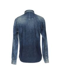 DIESEL - Blue Denim Shirt for Men - Lyst